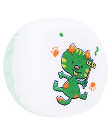 Baby Bath Sponge Kitty Print - White And Green