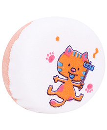 Baby Bath Sponge Kitty Print - White And Orange