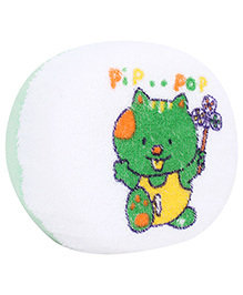 Baby Bath Sponge Teddy Print - White And Green