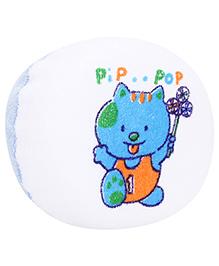 Baby Bath Sponge Teddy Print - White And Blue