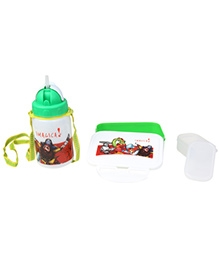 Imagica Combo Set Of Lunch Box And Sipper Water Bottle - Green And White