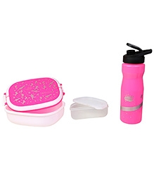 Imagica Combo Set Of Oval Lunch Box And  Water Bottle - Pink