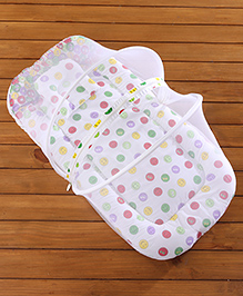 Babyhug Mattress Set With Mosquito Net Smiley Print - White Base