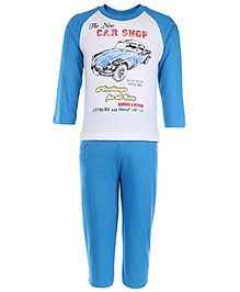 Zero Full Sleeves Suit Car Shop Print - White And Sky Blue