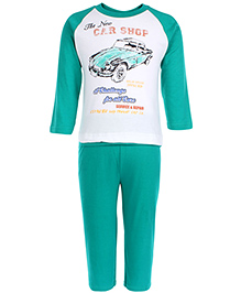 Zero Full Sleeves T-Shirt And Leggings Set Car Shop Print - Green And White