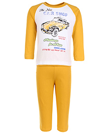 Zero Full Sleeves T-Shirt And Leggings Set Car Shop Print - Yellow And White