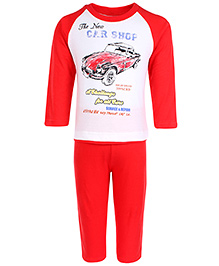 Zero Full Sleeves T-Shirt And Leggings Set Car Shop Print - Red And White