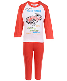 Zero Full Sleeves T-Shirt And Leggings Set Car Shop Print - Coral And White