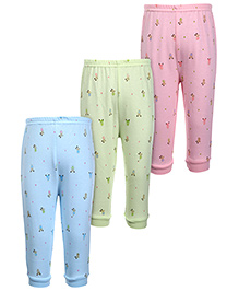 Zero Leggings Teddy Print Pack of 3 - Pink Green And Sky Blue