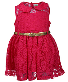 Babyhug Sleeveless Frock With Belt Floral Net Work - Fuchsia