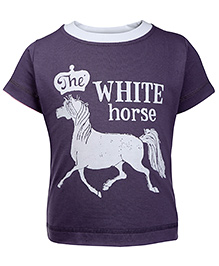 Ollypop Half Sleeves T-Shirt Horse Print - Purple
