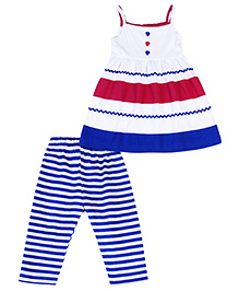Babyhug Singlet Frock And Striped Legging - White And Multicolor