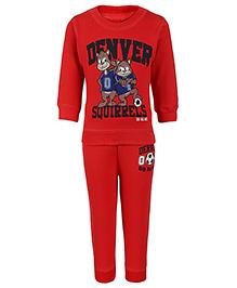 Doreme Full Sleeves T-Shirt And Legging Denver Squirrels Print - Red