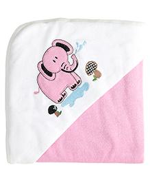 My Milestones Premium Hooded Towel Elephant Embroidery - Pink
