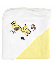 My Milestones Premium Hooded Towel Giraffe Embroidery - Yellow