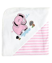 My Milestones Premium Hooded Towel Stripe Pattern - Pink