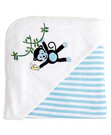 My Milestones Premium Hooded Towels Stripe Pattern - Blue