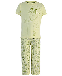 Motu Patlu Printed Half Sleeves Night Suit - Light Yellow