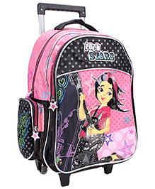 Bags & Baggage Trolley School Bag Black And Pink - Height 18 Inches