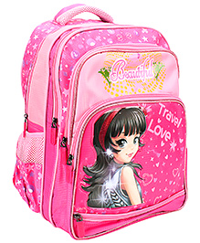 Bags & Baggage School Bag Hearts Print Pink - Height 15 Inches