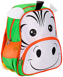Bags & Baggage School Bag Zebra Face Design White And Green - Height 16 Inches