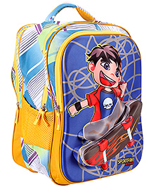Bags & Baggage School Bag Checks Design Yellow And Blue - Height 17 Inches