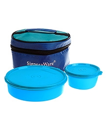 Signoraware New Classic Small Lunch Box With Bag Blue - 550 Ml