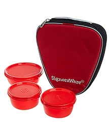 Signoraware Sleek Lunch Box Set With Bag - Red