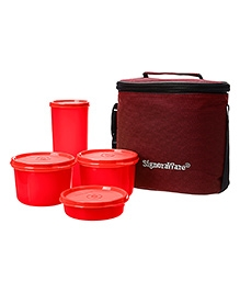 Signoraware Combo Medium Executive Lunch With Bag Red - 1580 Ml