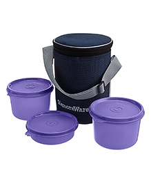 Executive Medium Lunch Box With Bag Purple - Height 15cm