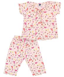 Teddy Short Sleeves Night Suit Cat Print - Peach