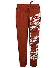 Motu Patlu Printed Track Pant With Side Pockets - Rust Brown