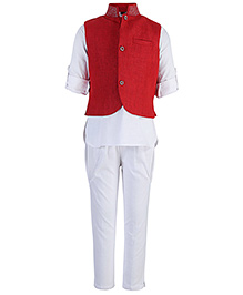 Little Bull Full Sleeves Kurta And Pajama With Jacket - Red And White