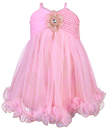 Babyhug Empire Pattern Frock With Pearl Detailing - Pink