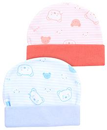 Babyhug Beanie Cap Zigzag Design Pack Of 2 - Sky Blue And Salmon Orange