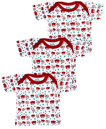 Babyhug Envelope Neck Vests Bear Print Pack Of 3 - Red And White