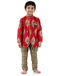 Babyhug Full Sleeves Kurta And Jodhpuri Breeches Set - Red