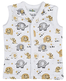 Babyhug Sleeveless Vests Elephant Print - White And Grey