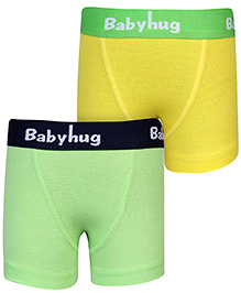 Babyhug Boxer Briefs Solid Colour Set Of 2 - Light Green And Yellow