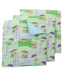 Babyhug Multi Purpose Baby Mat Teddy Bear Print Set Of 4 - Green