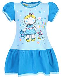 Babyhug Contrast Color Sleeves Printed Frock - Sky Blue