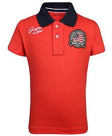 Palm Tree Half Sleeves T-Shirt Sporting Quest Embroidery - Red