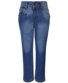 Palm Tree Jeans Full Length Fixed Waist - Blue