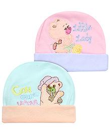 Babyhug Beanie Cap Turn-Up Hem Pack Of 2 - Light Green And Pink