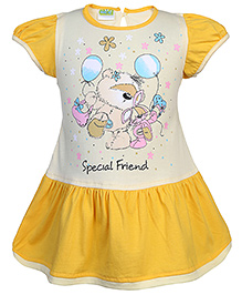 Babyhug Half Sleeves Frock Special Friend Print - Yellow