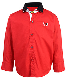 Gini & Jony Full Sleeves Shirt Logo Embroidery - Red