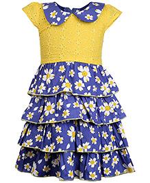 Babyhug Cap Sleeves Layered Frock Floral Print - Yellow