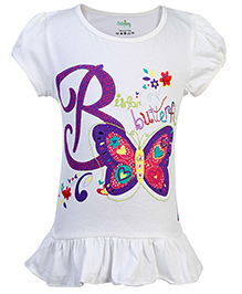 Babyhug Puff Sleeves Top Butterfly Print - Off White