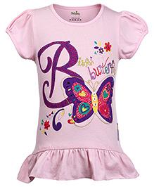 Babyhug Puff Sleeves Top Butterfly Print - Pink