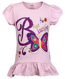 Babyhug Puff Sleeves Top Butterfly Print - Pink